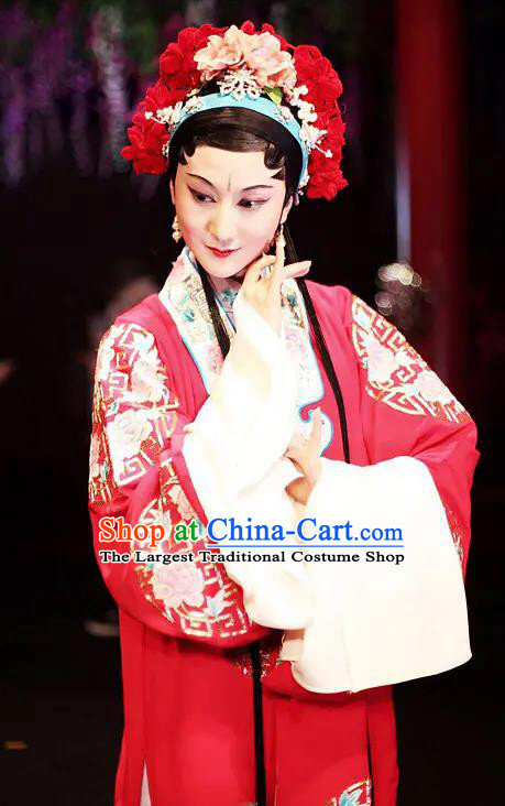 Chinese Kun Opera Wedding Apparels Costumes Garment The Fragrant Companion Peking Opera Hua Tan Rich Lady Red Dress and Hair Accessories