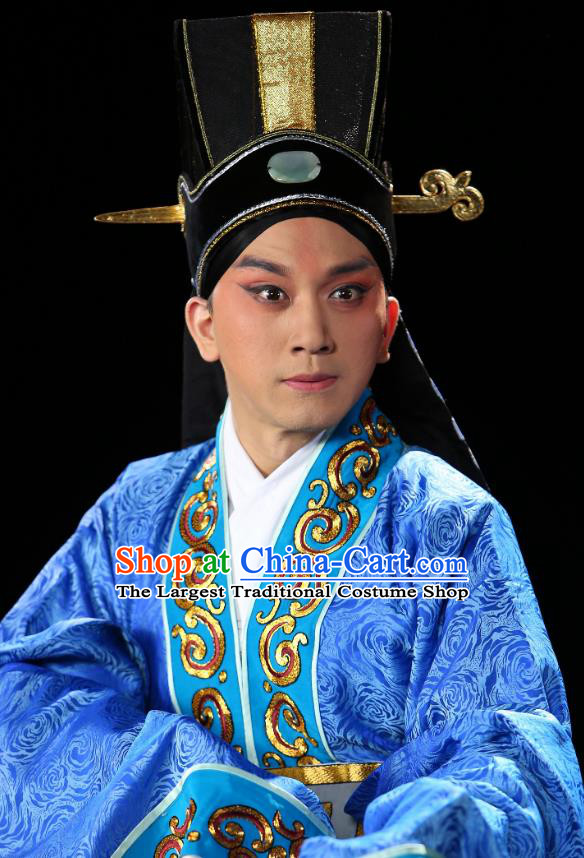 Chinese Historical Beijing Opera Niche Costumes Cao Cao And Yang Xiu Apparels Young Male Blue Garment and Hat