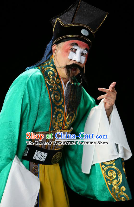 Chinese Historical Beijing Opera Chou Role Costumes Cao Cao And Yang Xiu Apparels Clown Green Garment and Hat