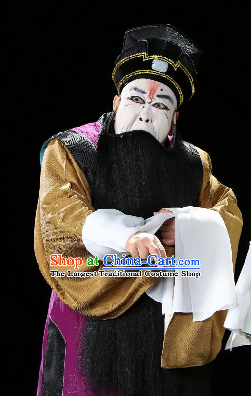 Chinese Historical Beijing Opera Painted Face Role Costumes Cao Cao And Yang Xiu Apparels Elderly Male Garment and Hat