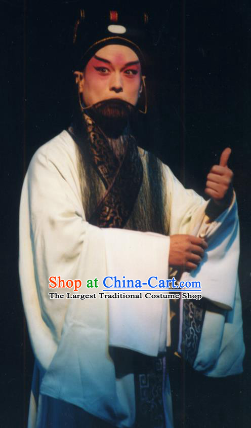 Chinese Historical Beijing Opera Adviser Costumes Cao Cao And Yang Xiu Apparels Elderly Male Role Garment and Hat