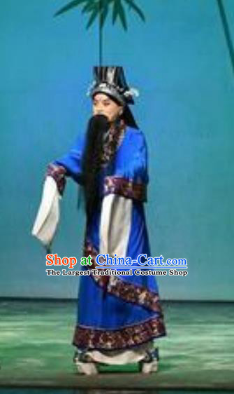 Chinese Historical Beijing Opera Elderly Male Role Costumes Cao Cao And Yang Xiu Apparels Adviser Garment and Headwear
