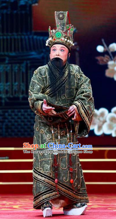Chinese Historical Beijing Opera Zeng Houyi Costumes Peking Opera Elderly Male Apparels Monarch Garment and Headwear