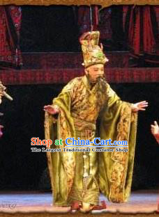 Chinese Historical Beijing Opera Zeng Houyi Apparels Peking Opera Elderly Male Monarch King Garment Costumes and Headwear