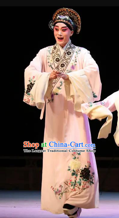 Chinese Peking Opera Scholar Costumes Kun Opera The Fragrant Companion Young Men Niche Fan Jiefu Apparels Garment and Hat