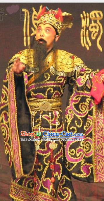 Chinese Historical Beijing Opera King Zeng Houyi Apparels Peking Opera Elderly Male Monarch Garment Costumes and Hat