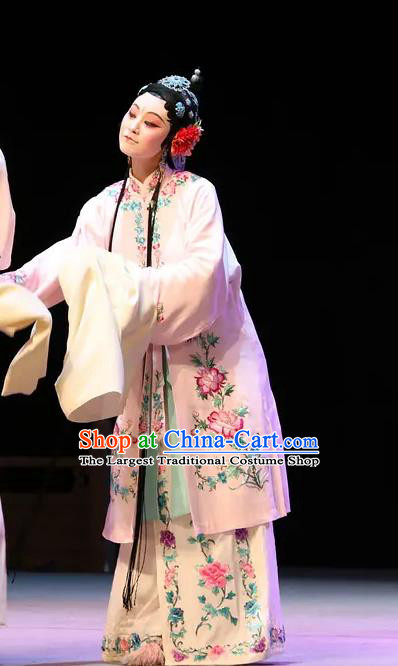 Chinese Kun Opera Rich Concubine Apparels Costumes The Fragrant Companion Peking Opera Hua Tan Garment Dress and Hair Accessories