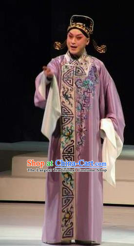 Chinese Peking Opera Scholar Purple Costumes Kun Opera The Fragrant Companion Young Men Niche Apparels Garment Embroidered Robe and Hat