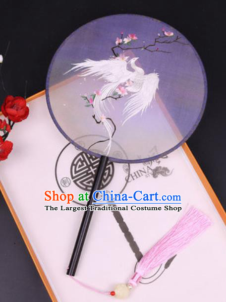 Chinese Traditional Embroidered White Peacock Mangnolia Palace Fans Handmade Classical Dance Ebony Round Fan for Women