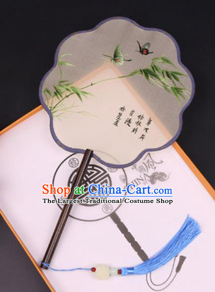Chinese Traditional Embroidered Bamboo Butterfly Silk Fans Handmade Classical Dance Ebony Palace Fan for Women