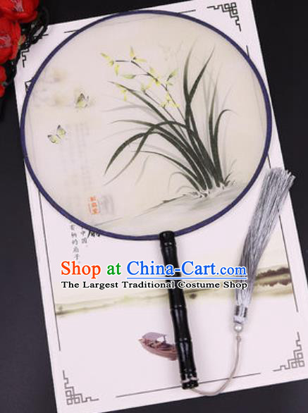 Chinese Traditional Printing Orchid Round Fans Handmade Classical Dance Ebony Palace Fan for Women