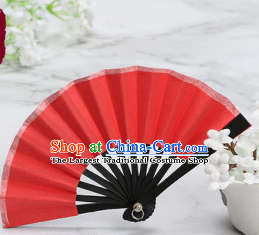 Chinese Traditional Little Red Paper Fans Handmade Accordion Classical Dance Folding Fan