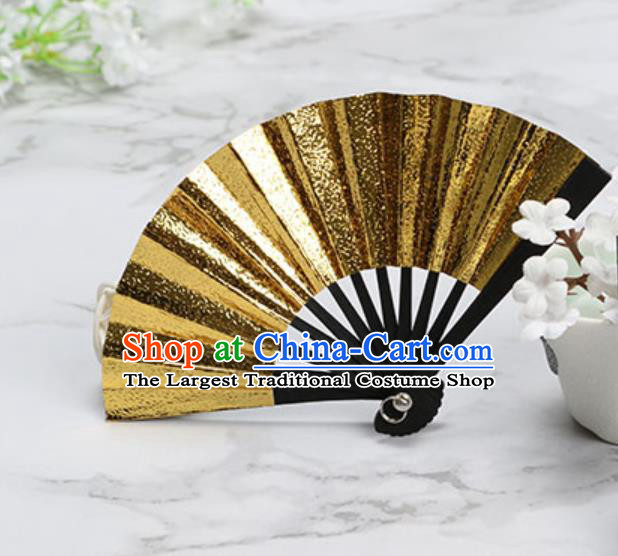 Chinese Traditional Little Golden Paper Fans Handmade Accordion Classical Dance Folding Fan