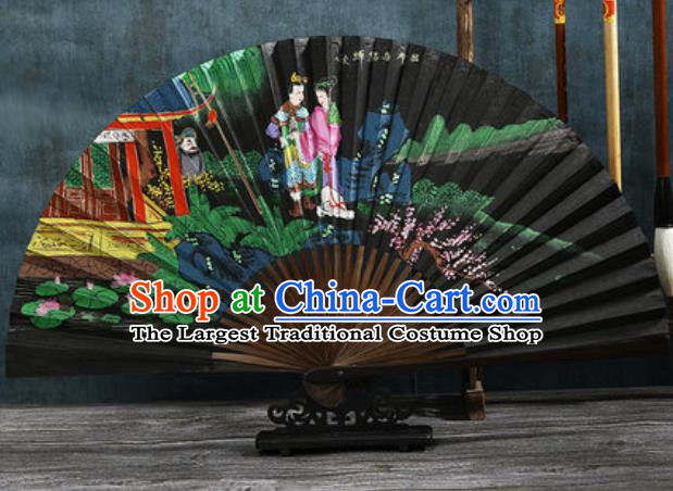 Chinese Traditional Painting Lv bu and Diao Chan Black Bamboo Fans Handmade Accordion Classical Dance Paper Fan Folding Fan