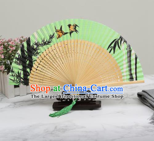 Chinese Traditional Printing Bamboo Green Silk Fan Classical Dance Accordion Fans Folding Fan