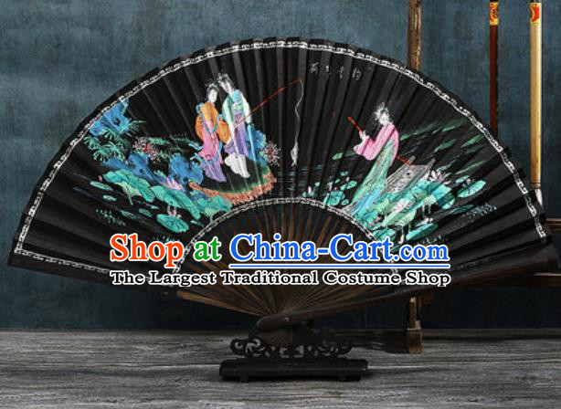 Chinese Traditional Painting Lotus Pond Black Bamboo Fans Handmade Accordion Classical Dance Paper Fan Folding Fan
