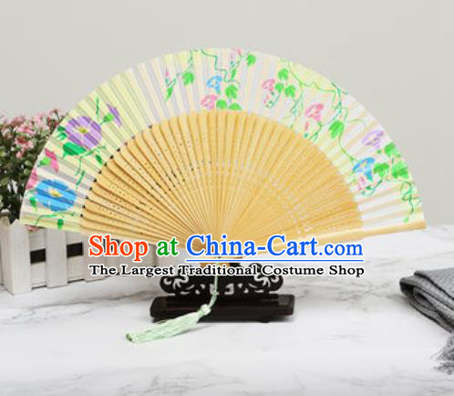 Chinese Traditional Printing Petunia Beige Silk Fan Classical Dance Accordion Fans Folding Fan