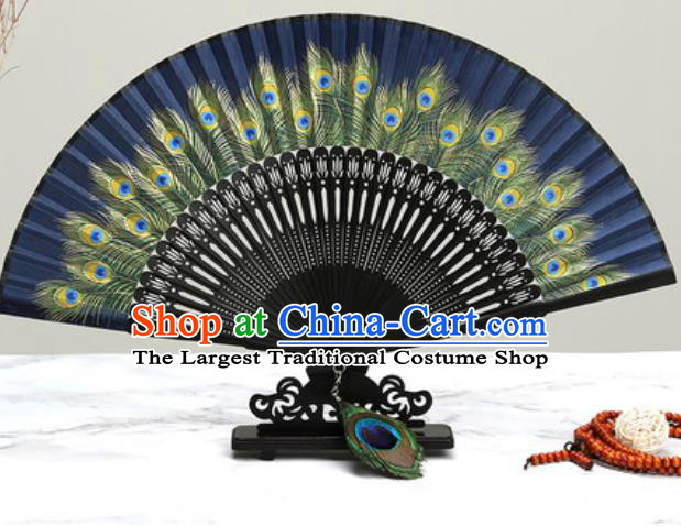 Chinese Traditional Printing Peacock Feather Navy Silk Fan Classical Dance Accordion Fans Folding Fan