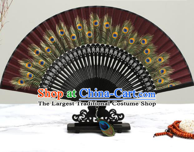 Chinese Traditional Printing Peacock Feather Dark Red Silk Fan Classical Dance Accordion Fans Folding Fan