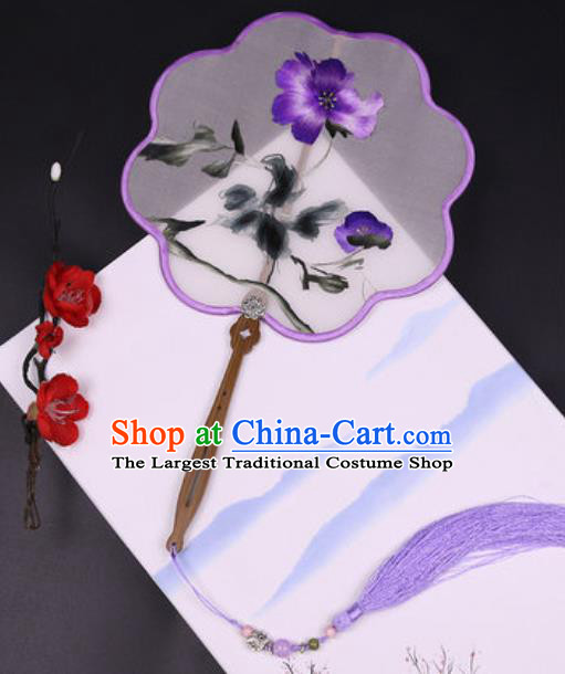 Handmade Chinese Embroidered Phalaenopsis Silk Fans Traditional Classical Dance Palace Fan for Women