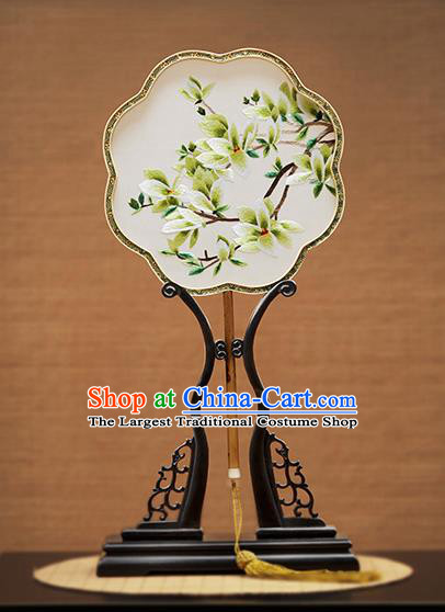 Handmade Chinese Embroidered Green Mangnolia Silk Fans Traditional Classical Dance Palace Fan for Women