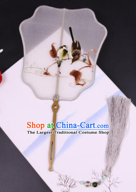 Handmade Chinese Embroidered Birds Grey Silk Fans Traditional Classical Dance Palace Fan for Women