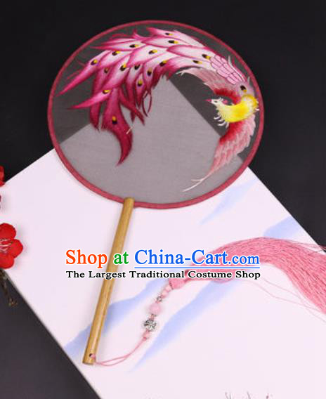 Handmade Chinese Embroidered Pink Phoenix Silk Fans Traditional Classical Dance Palace Fan for Women