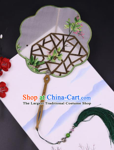 Handmade Chinese Embroidered Green Leaf Silk Fans Traditional Classical Dance Palace Fan for Women