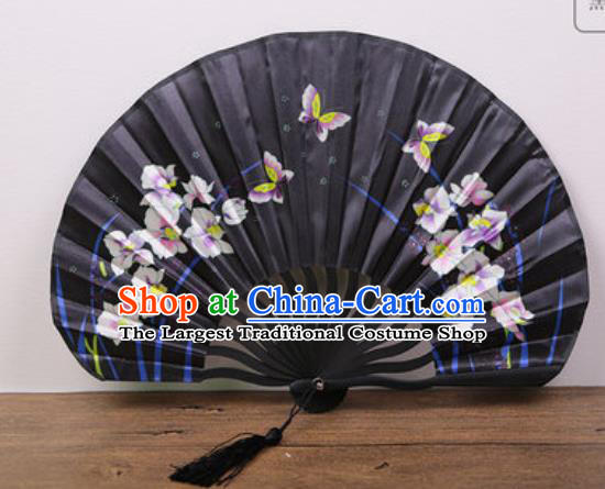 Handmade Chinese Printing Orchids Butterfly Black Satin Fan Traditional Classical Dance Accordion Fans Folding Fan