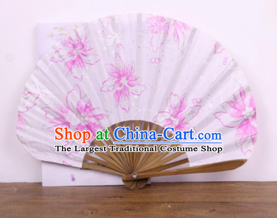 Handmade Chinese Printing Pink Flowers Satin Fan Traditional Classical Dance Accordion Fans Folding Fan