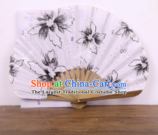 Handmade Chinese Printing Black Flowers Satin Fan Traditional Classical Dance Accordion Fans Folding Fan
