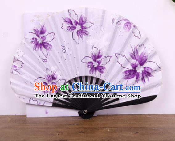 Handmade Chinese Printing Flowers Black Bamboo Satin Fan Traditional Classical Dance Accordion Fans Folding Fan