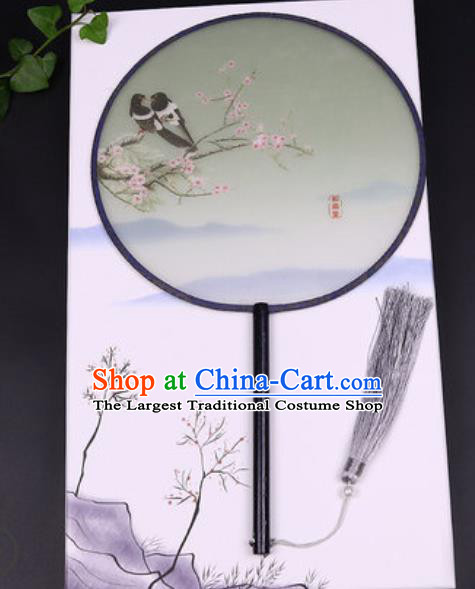 Handmade Chinese Printing Plum Green Silk Fans Traditional Classical Dance Palace Fan for Women