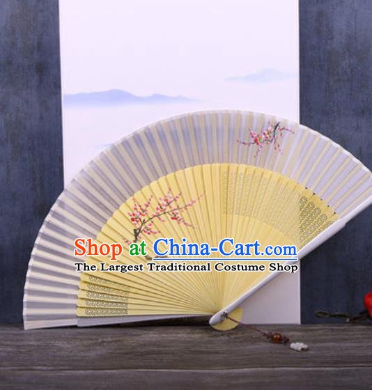 Chinese Traditional Hand Painting Plum Silver Gray Silk Fan Classical Dance Accordion Fans Folding Fan