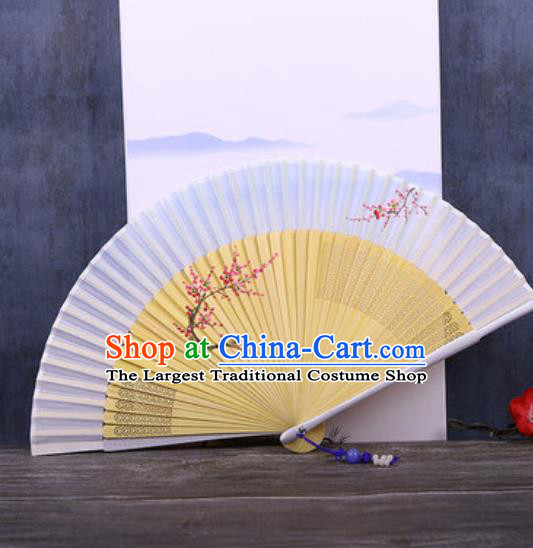 Chinese Traditional Hand Painting Plum Light Blue Silk Fan Classical Dance Accordion Fans Folding Fan