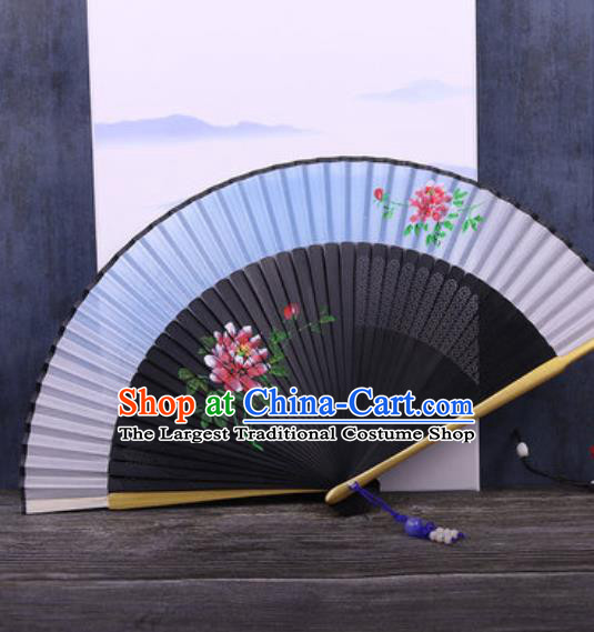 Chinese Traditional Hand Painting Peony Blue Silk Fan Classical Dance Accordion Fans Folding Fan