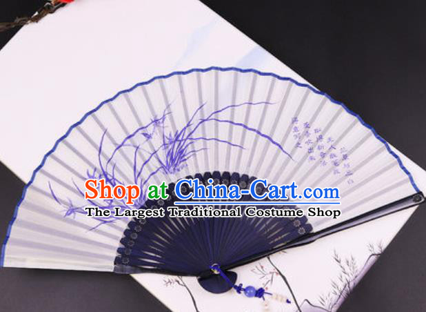 Chinese Traditional Painting Orchids Blue Bamboo Fan Classical Dance Accordion Silk Fans Folding Fan