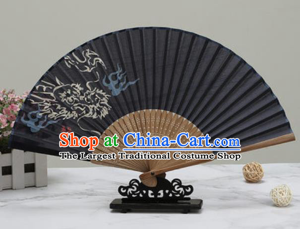 Chinese Traditional Printing Cloud Dragon Black Silk Fan Classical Dance Accordion Fans Folding Fan