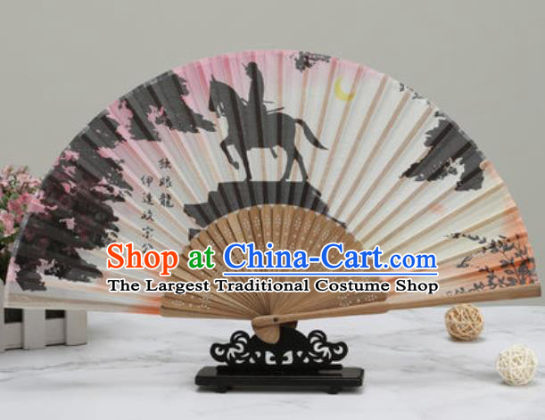 Chinese Traditional Printing Silk Fan Classical Dance Accordion Fans Folding Fan