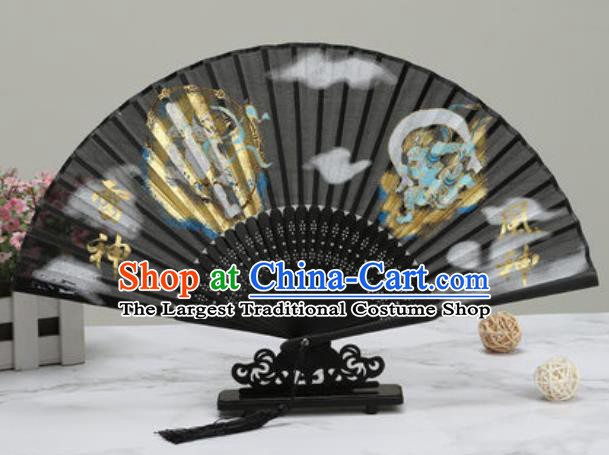 Chinese Traditional Printing Thunder Lord Silk Fan Classical Dance Accordion Fans Folding Fan