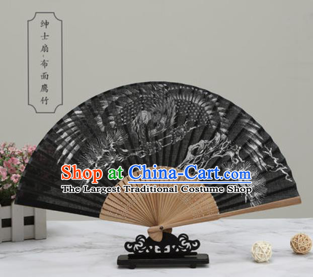 Chinese Traditional Printing Eagle Black Silk Fan Classical Dance Accordion Fans Folding Fan