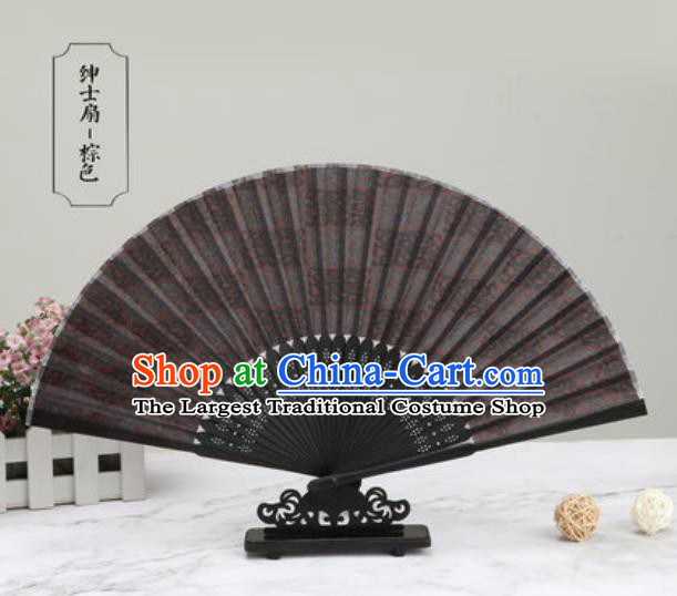 Chinese Traditional Printing Brown Silk Fan Classical Dance Accordion Fans Folding Fan