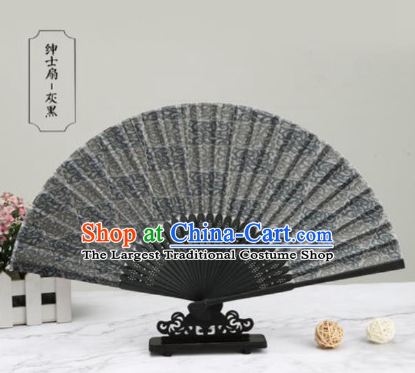 Chinese Traditional Printing Grey Silk Fan Classical Dance Accordion Fans Folding Fan