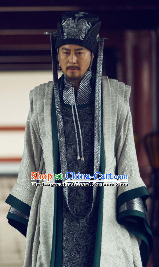 Chinese Ancient Chancellor of Qing Drama Qing Yu Nian Joy of Life Lin Ruofu Replica Costume and Hat for Men