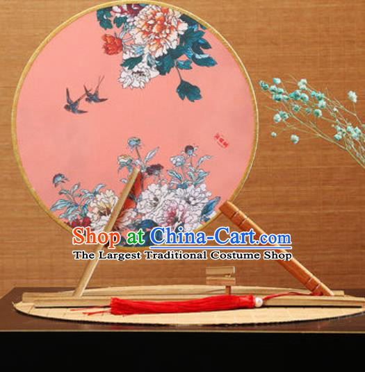 Handmade Chinese Printing Peony Pink Round Fans Traditional Classical Dance Red Beech Palace Fan for Women