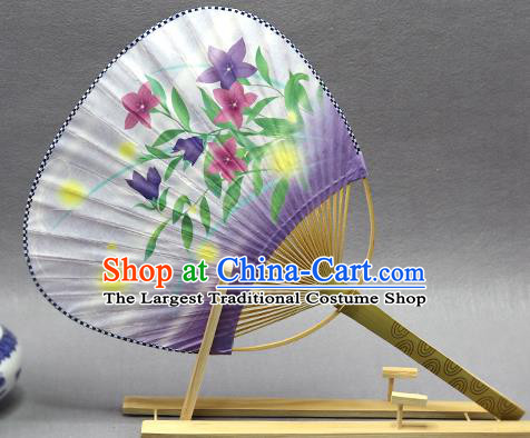 Handmade Chinese Printing Flowers Purple Paper Fans Traditional Classical Dance Palace Fan for Women