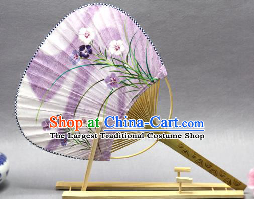Handmade Chinese Printing Orchid Lilac Paper Fans Traditional Classical Dance Palace Fan for Women