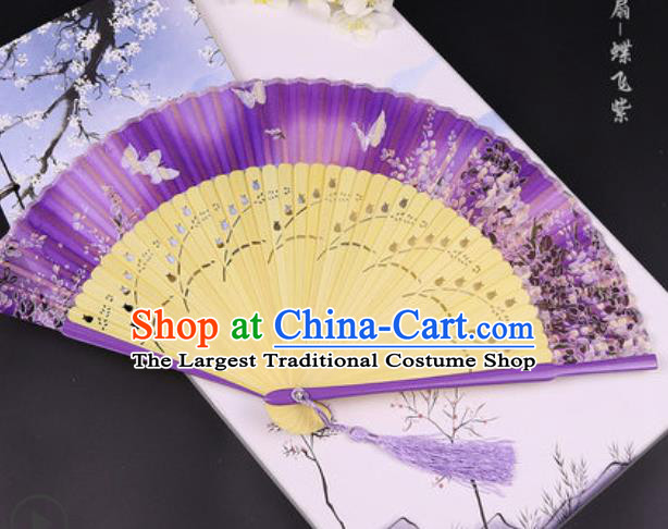 Handmade Chinese Butterfly Purple Cotton Fan Traditional Classical Dance Accordion Fans Folding Fan
