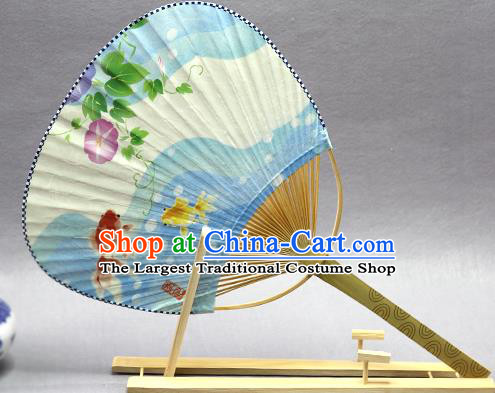Handmade Chinese Printing Petunia Goldfish Blue Paper Fans Traditional Classical Dance Palace Fan for Women