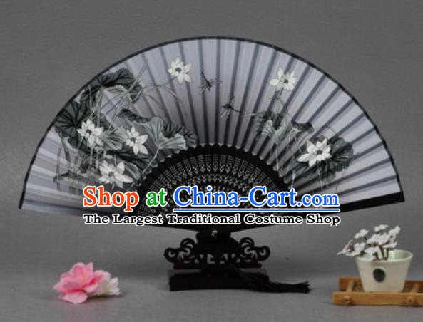 Handmade Chinese Printing Lotus Grey Silk Fan Traditional Classical Dance Accordion Fans Folding Fan